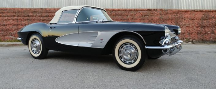 1961 Corvette Tuxedo Black/Red with White Top 270 hp