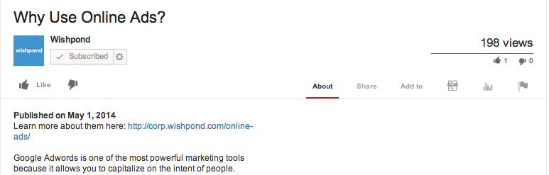 Wishpond uses YouTube descriptions wisely
