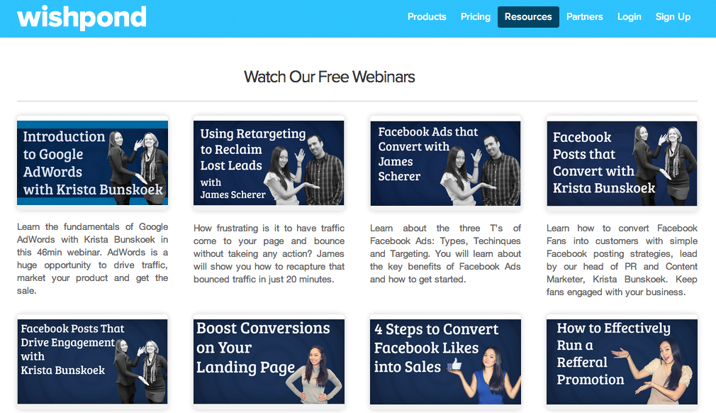 Wishpond shows off their recorded webinars in one spot
