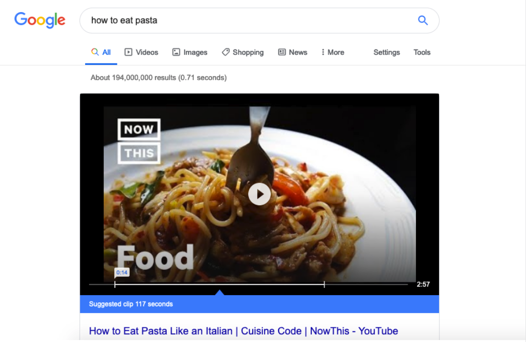 screenshot of a how to video detailing how to eat pasta