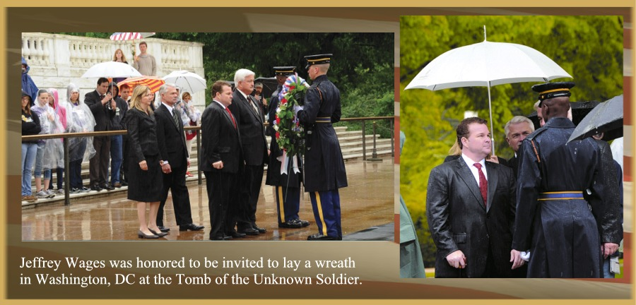 Jeffrey wages at Tomb of unknown banner