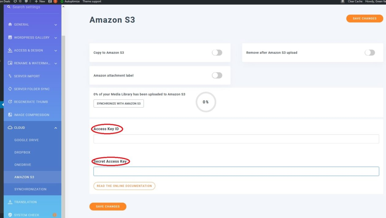 WP Media Library plugin in WordPress dashboard where you add access keys from Amazon S3