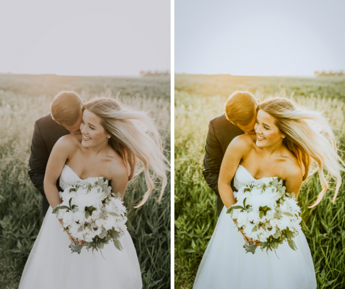 wedding photos before and after with desktop lightroom preset