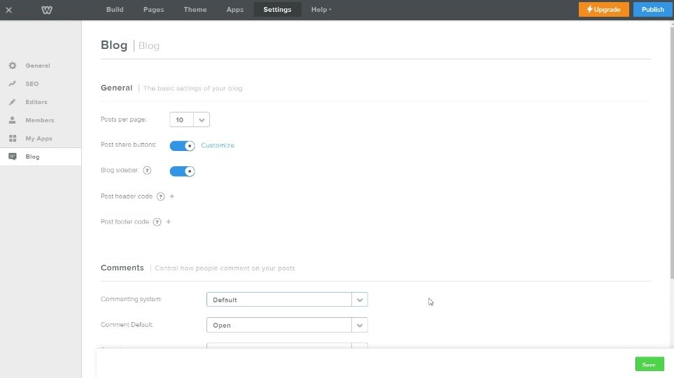 Blog Settings on Weebly Free Website