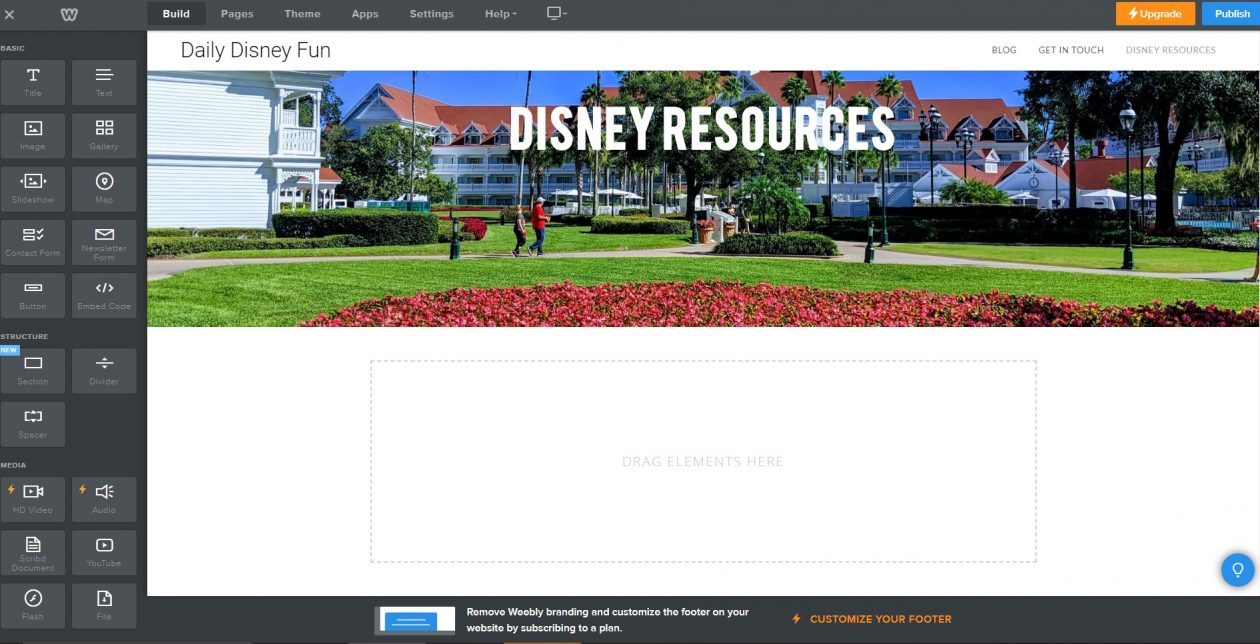 Weebly Build Options of elements to add to website page