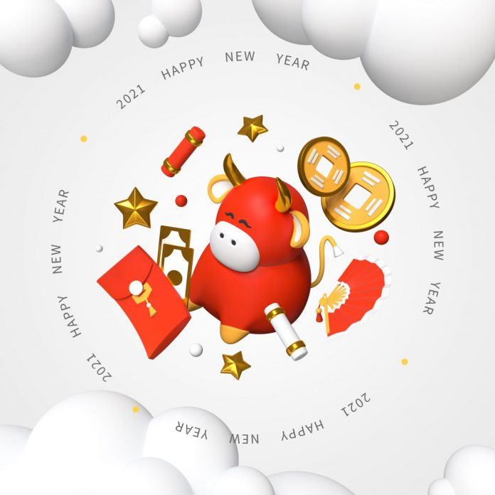 2021 Happy Chinese New Year Clipart of Red Ox, Gold Stars