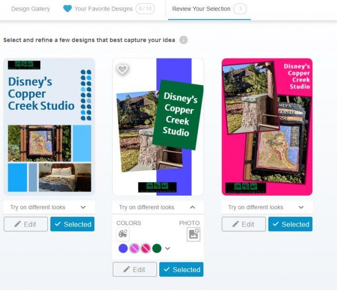 3 example pins for Disney's Copper Creek Studio in Tailwind Create Design Tool