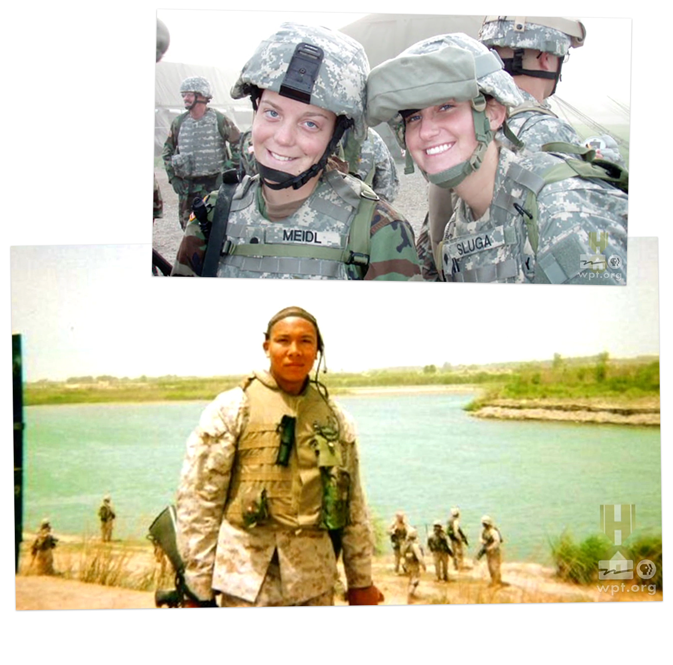 Two photographs of Americans serving in the military.