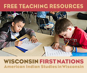 Elementary school children learning about Wisconsin First Nations