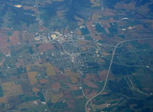 aerial view of wisconsin rural town