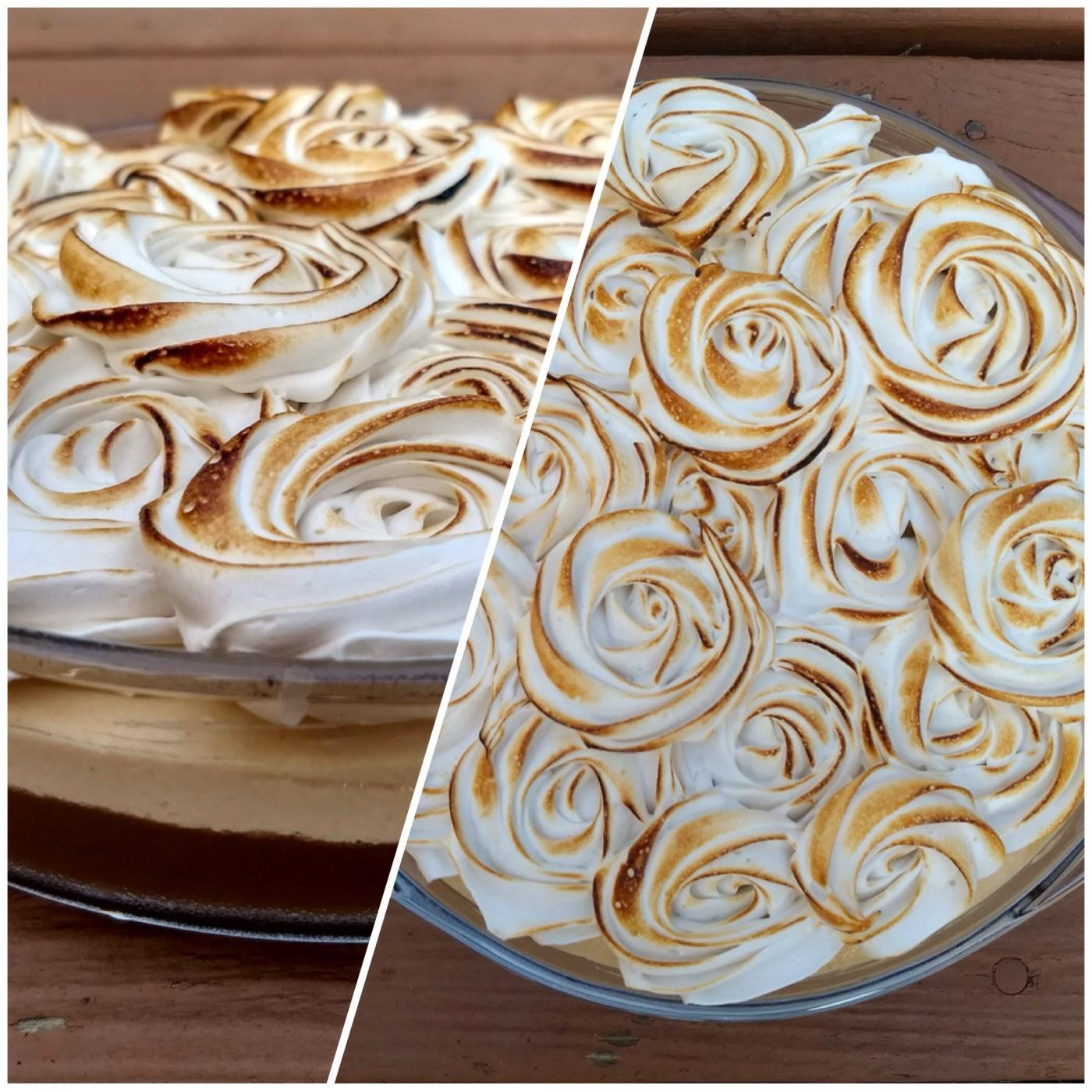 Piped meringue with a flamed top sits atop the First Lady of Puddings.