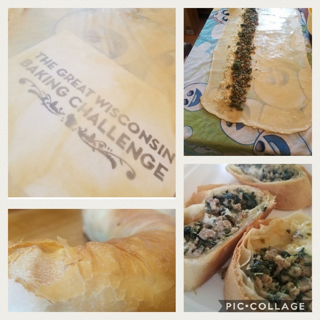 Joshua's spinach and sausage strudel