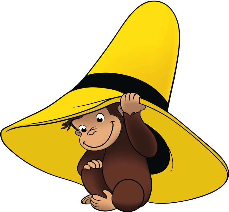 George, a small brown monkey, peeks out from under a big yellow hat.