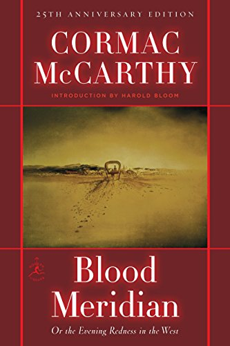 Blood Meridian book cover, a near-abstract painting of a receding Conestoga wagon in the dust