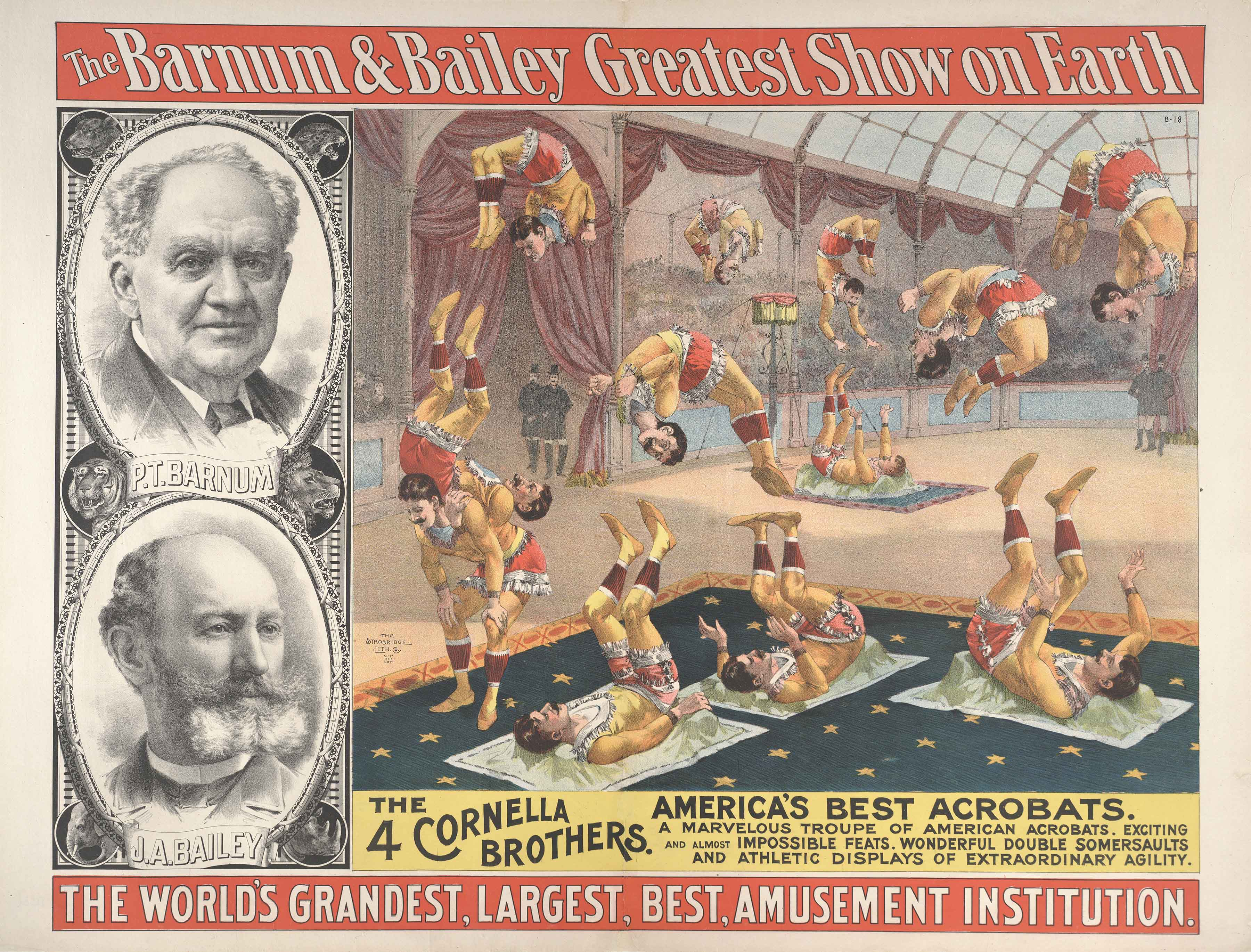 Barnum and Bailey poster featuring images of the two founders, as well as many tumblers flying through the air