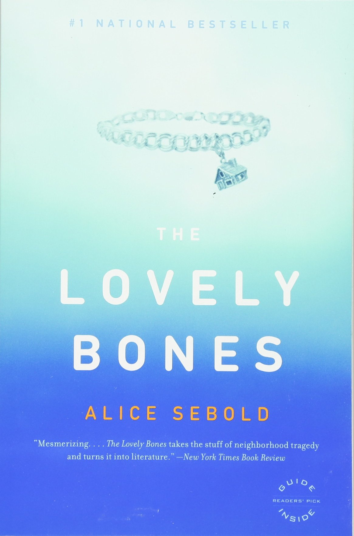 Cover of The Lovely Bones - a charm bracelet on a blue background