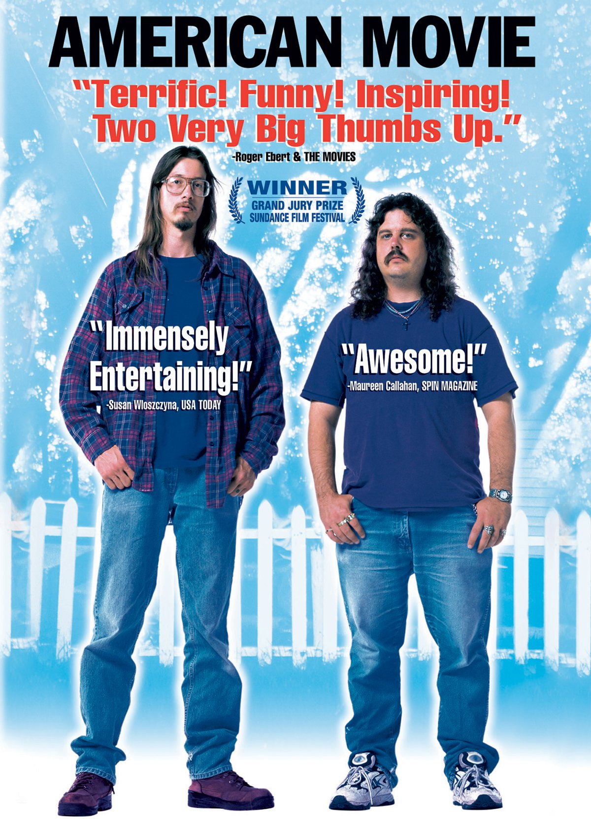 "Poster for ""American Movie"" features director Mark Borchardt and friend Mike Shenk, two long-haired men wearing jeans."