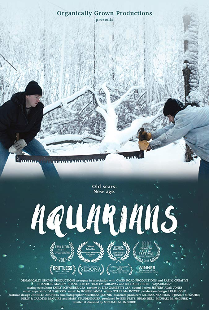 Theatrical poster for Aquarians features two brothers on either end of a large saw, surrounded by a snowy landscape