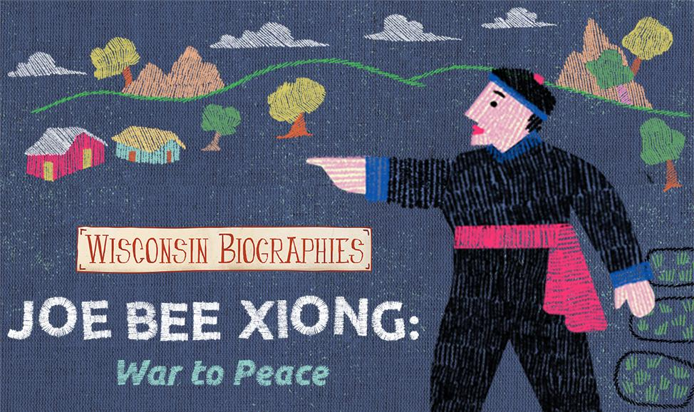 The title page of Joe Bee Xiong: War to Peace looks as if it is made of pictures sewn into a Hmong story cloth