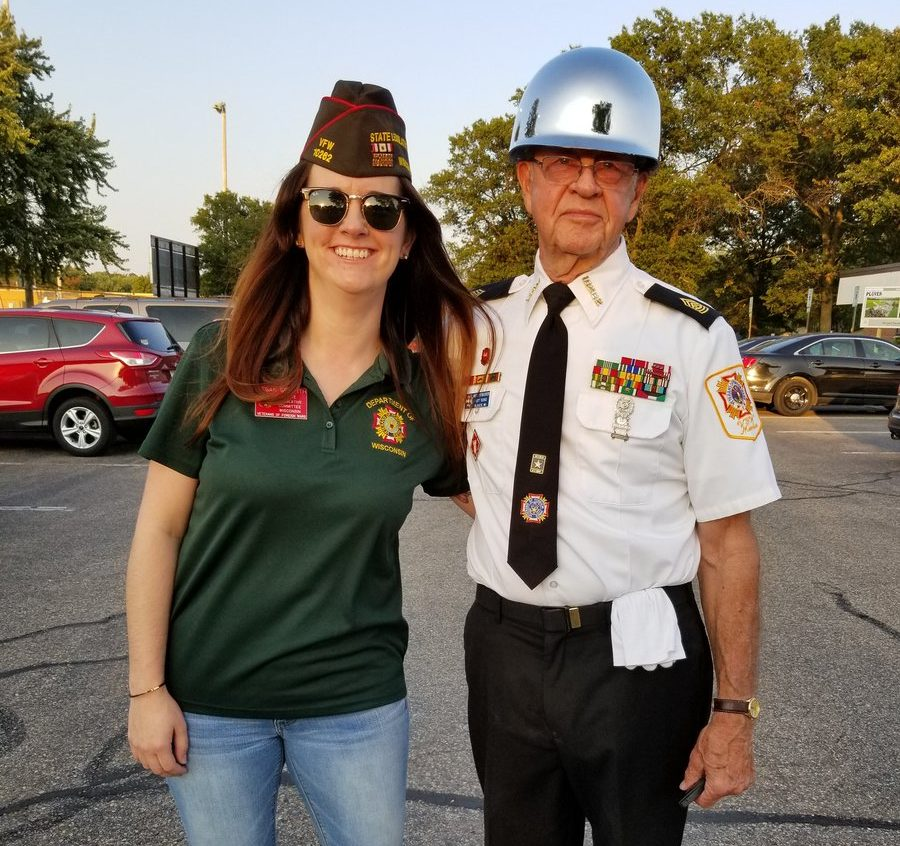 Tegan Griffith poses with her friend and fellow VFW member Norb