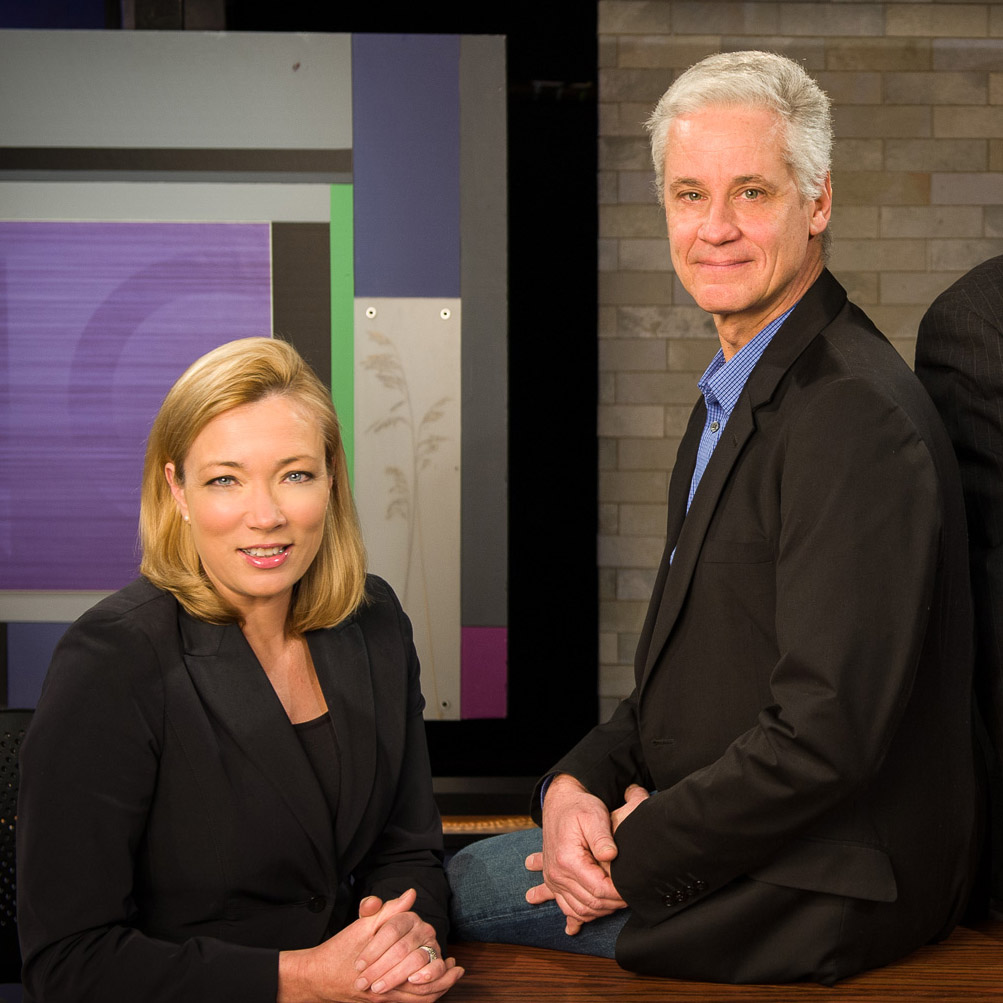 Here & Now anchor Frederica Freyberg and senior news producer Andy Moore.