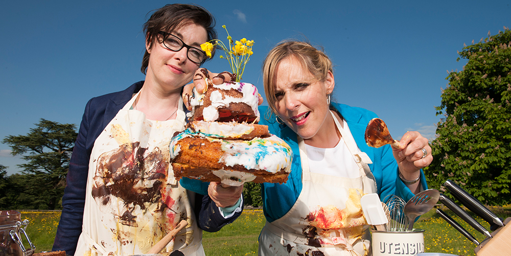 Mel Giedroyc and Sue Perkins coax the bakers through their challenges  - and provide comic relief. Season 2 premieres tomorrow, Sunday, Sept. 6 at 6 p.m.