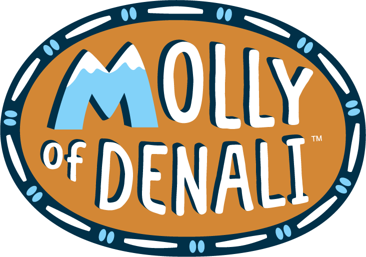Logo for Molly of Denali features mountains on the M