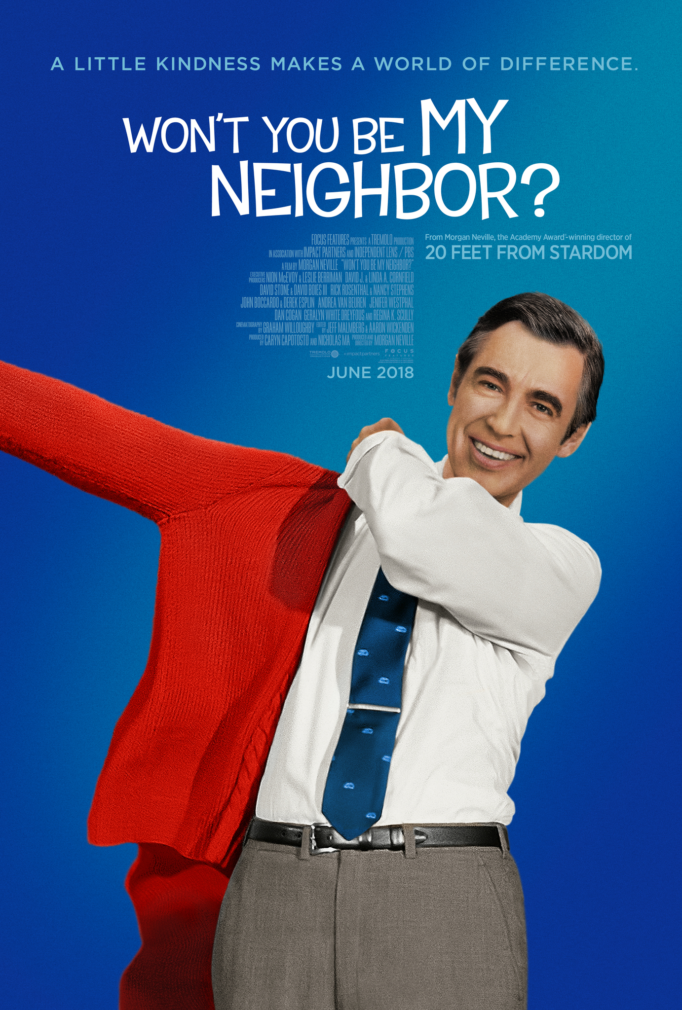 Poster for Won't You Be My Neighbor? shows Fred Rogers donning his iconic red cardigan.
