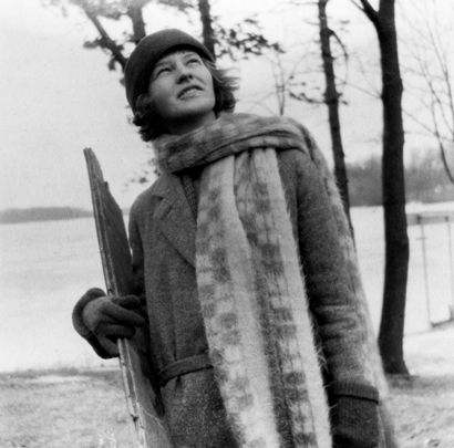 Mildred Fish-Harnack poses outdoors in winter