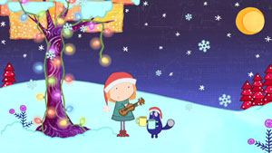 Peg and Cat under a Christmas Tree