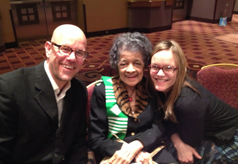 Vel Phillips with filmmaker Robert Trondson and his wife Erin.
