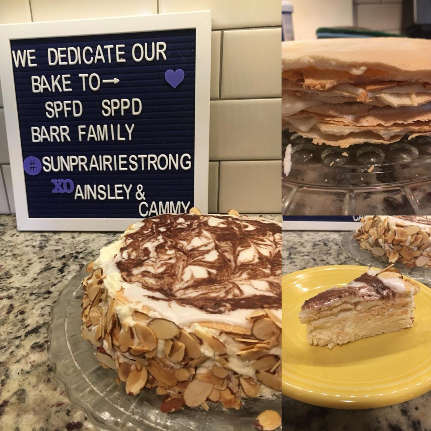 Cammy and Ainsley's torte photo includes a message of support for their community.