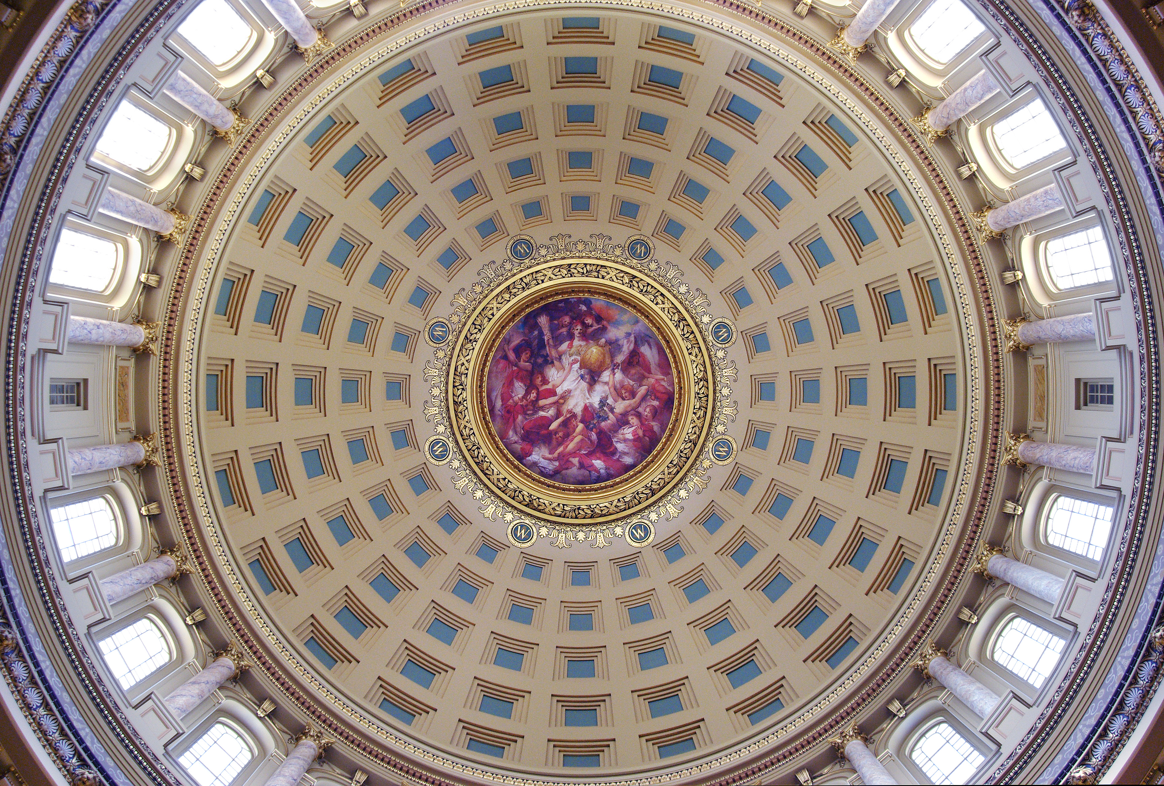 View of the painting under the Wisconsin State Capitols painted dome