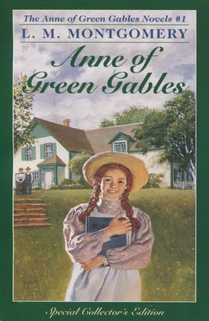 Cover of Anne of Green Gables features a red-headed girl smiling in front of a rural house