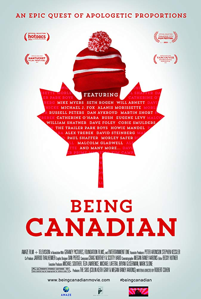 The poster for Being Canadian features a maple leaf shape wearing a knit winter hat