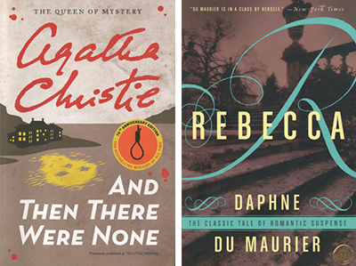 Book covers for And Then There Were None and Rebecca