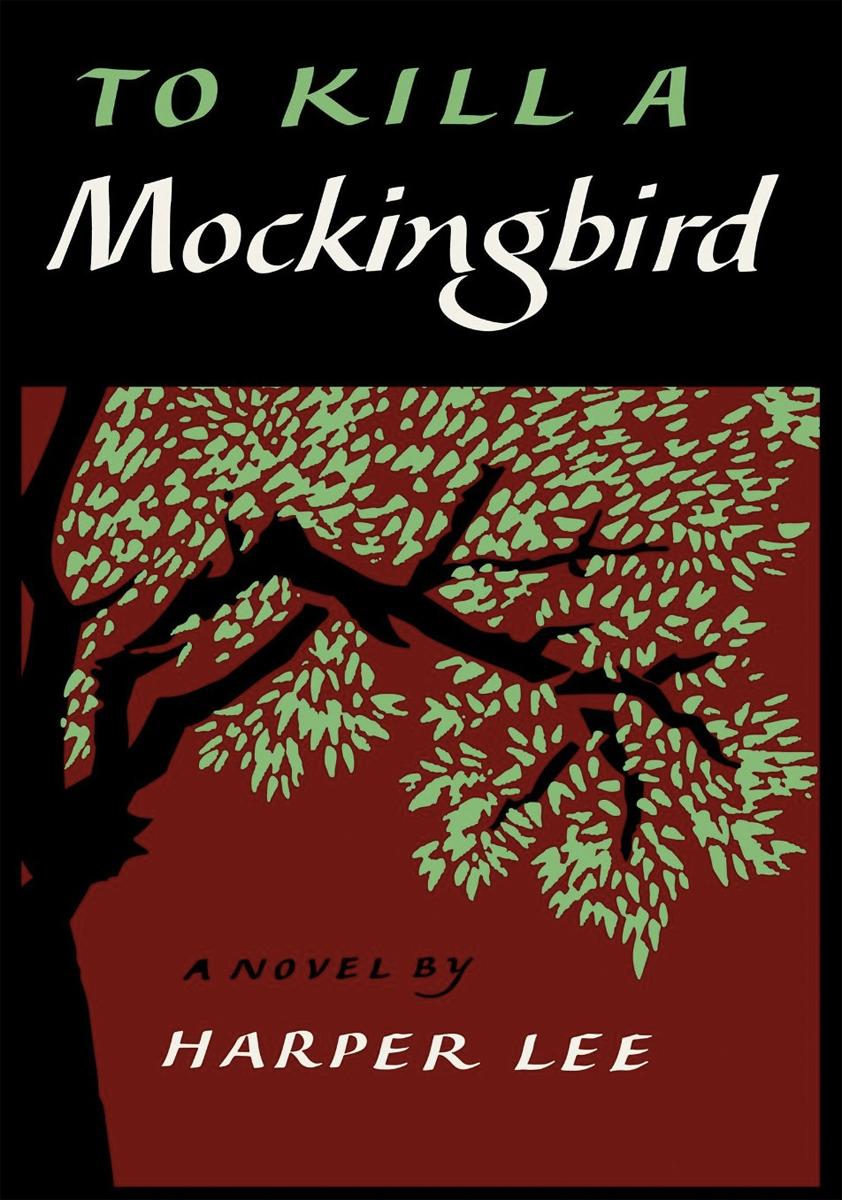 Cover of To Kill a Mockingbird shows a silhouetted drawing of a tree with green leaves