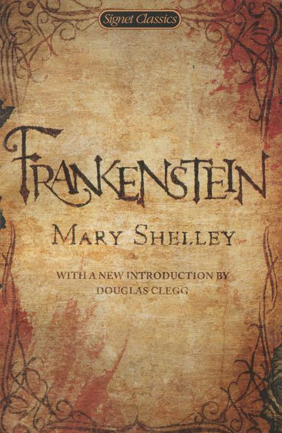 Aged parchment with spooky writing makes up this book cover for Frankenstein