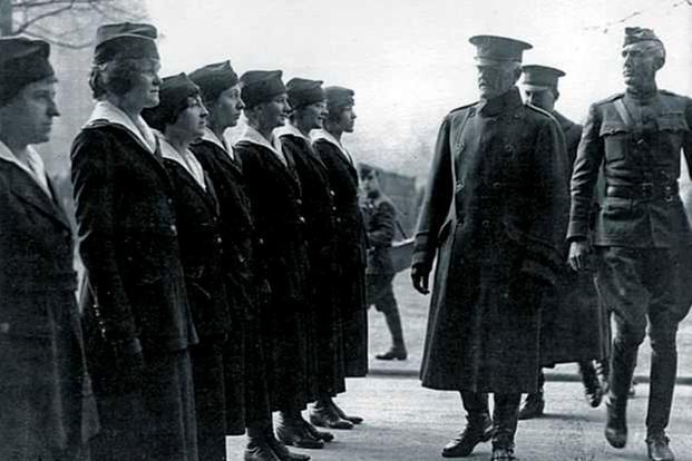 "General John ""Black Jack"" Pershing reviews women soldiers"
