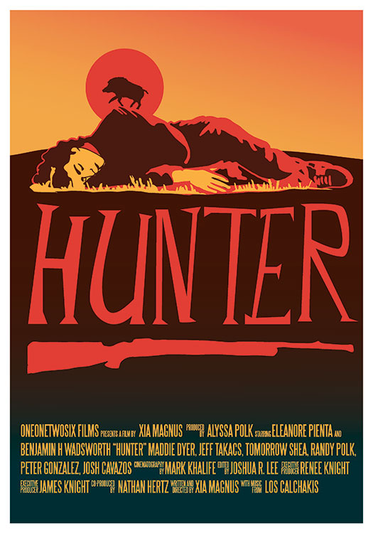 The poster for Hunter features an illustration of a boar silhouetted over a person sleeping on the ground.