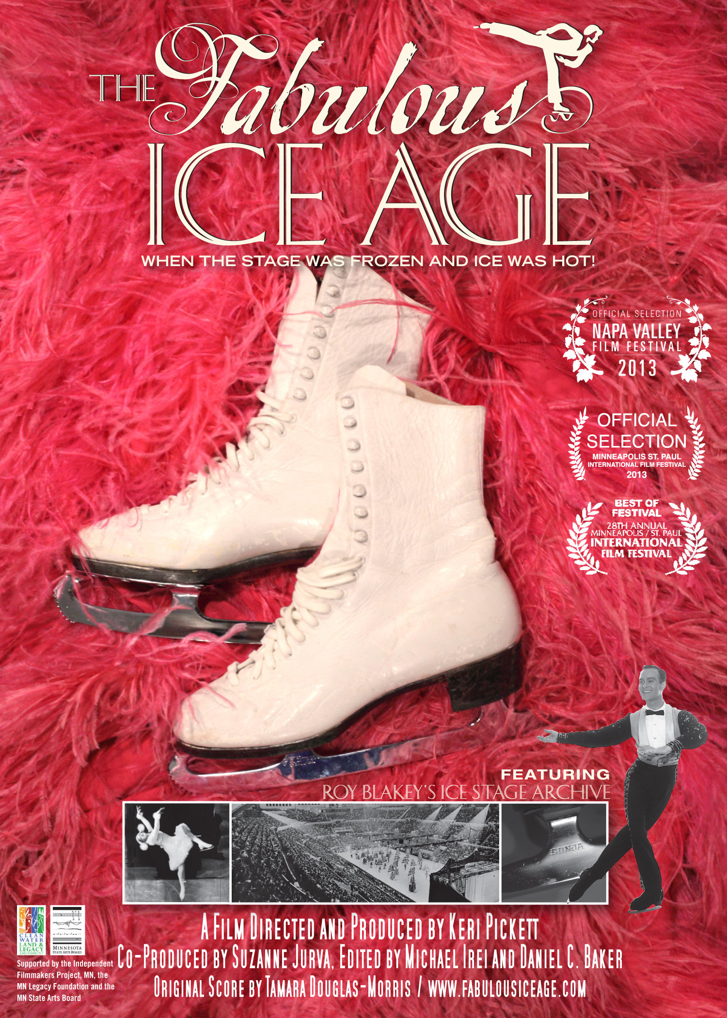Poster for The Fabulous Ice Age shows a pair of white figure skates against a red feather boa.