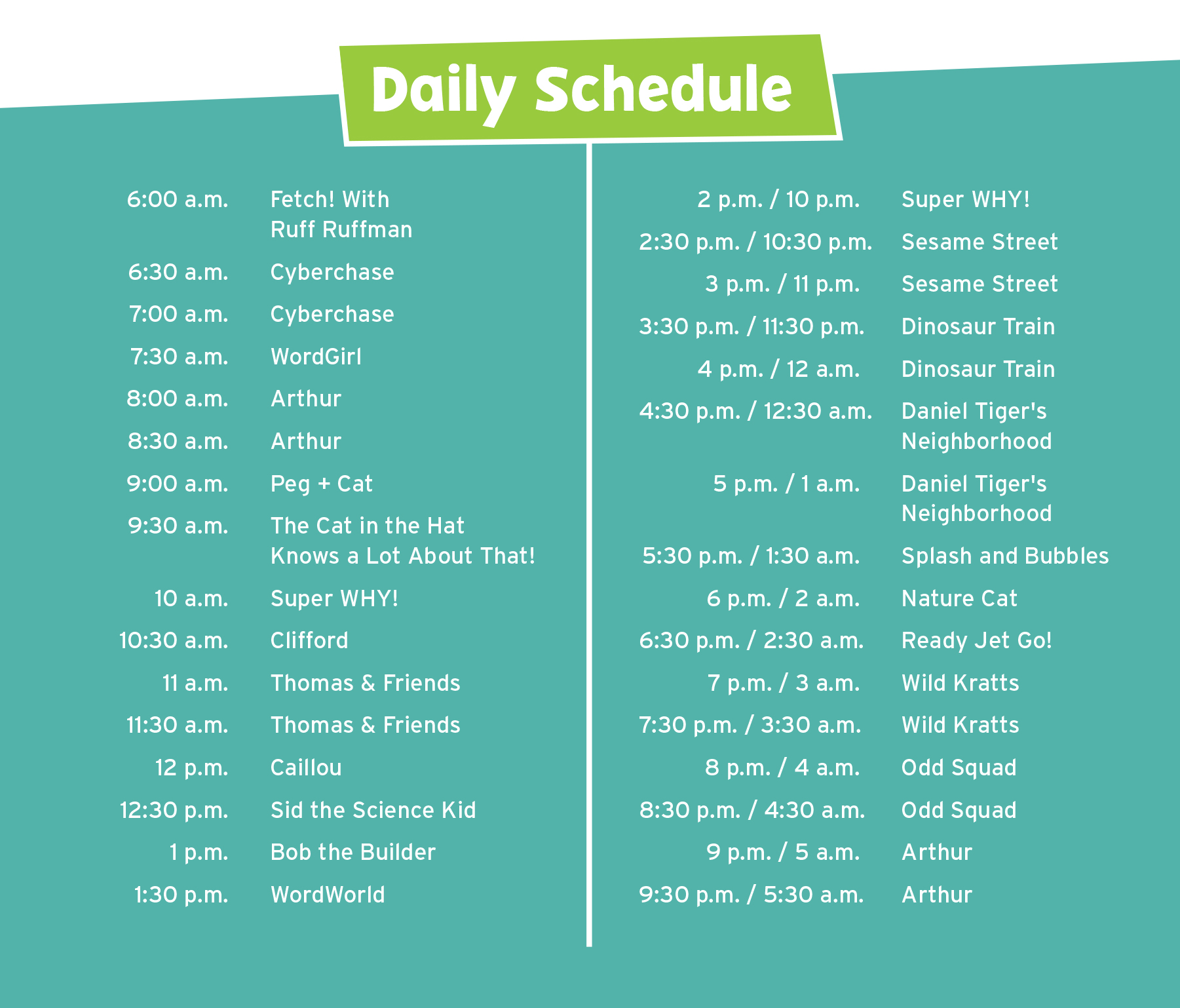 Blog edited to add: Interested in the WPT PBS KIDS 24/7 schedule? View it below!