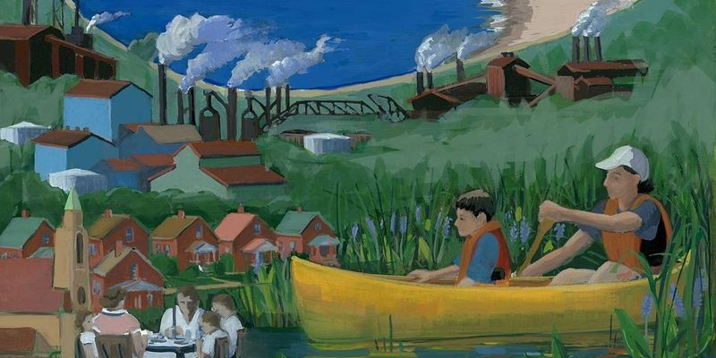 Painting of paddlers along the shore, with a village and factory smokestacks behind them.
