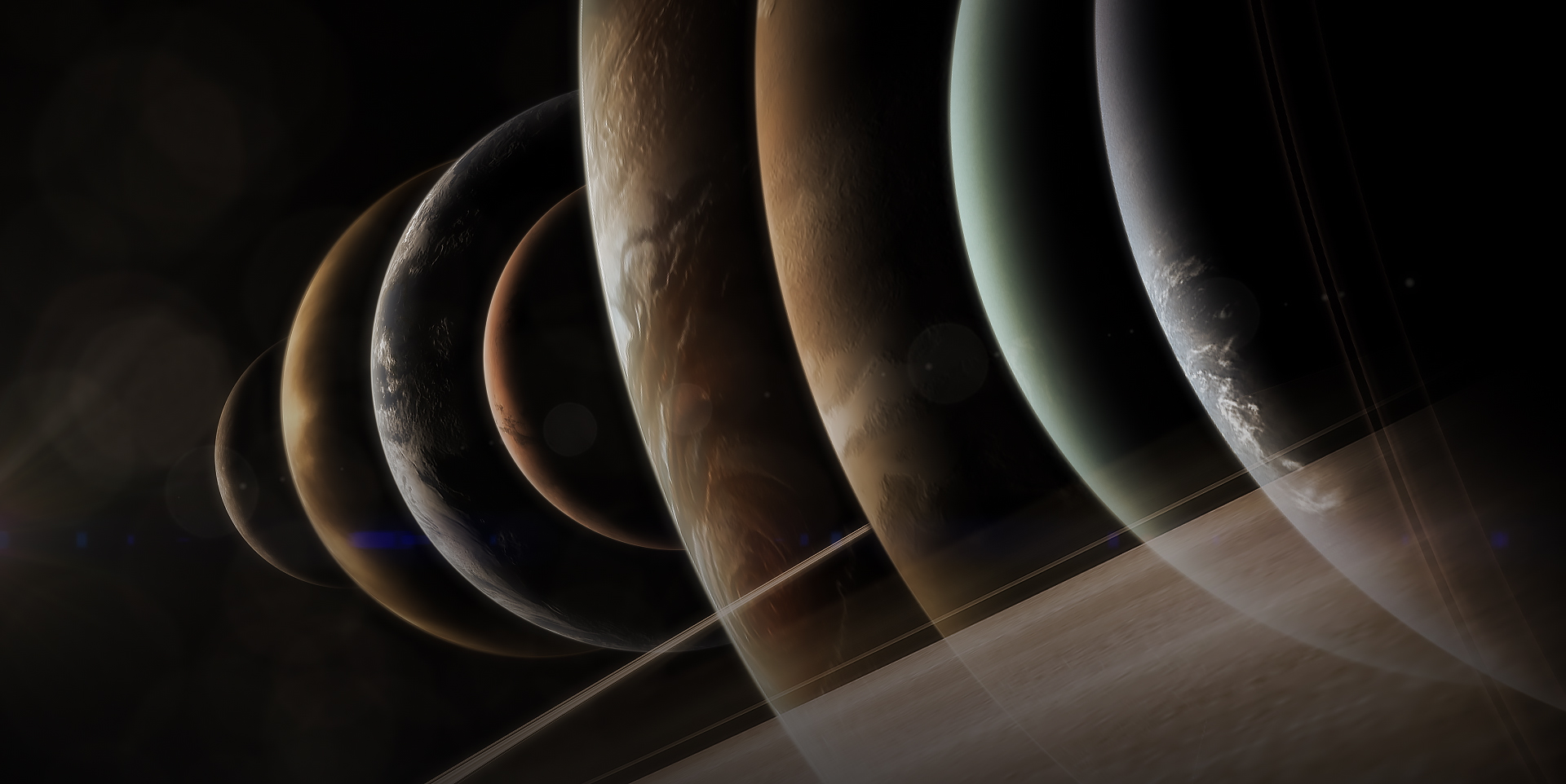 Graphic showing images of the eight planets in order