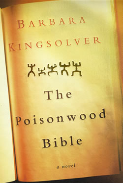 Cover of The Poisonwood Bible, with five stick figures below the author's name.
