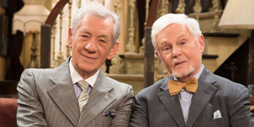 Freddie and Stuart (Ian Mckellen and Derek Jacobi), a gay couple for over 50 years sit on a couch together in their London flat.