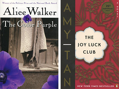 Covers for The Color Purple - a photo of a black woman with purple flower petals around it - and The Joy Luck Club - a red cover with a gold filigree design