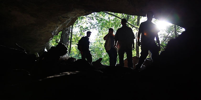 Cavers look into the opening of a woodland cavern