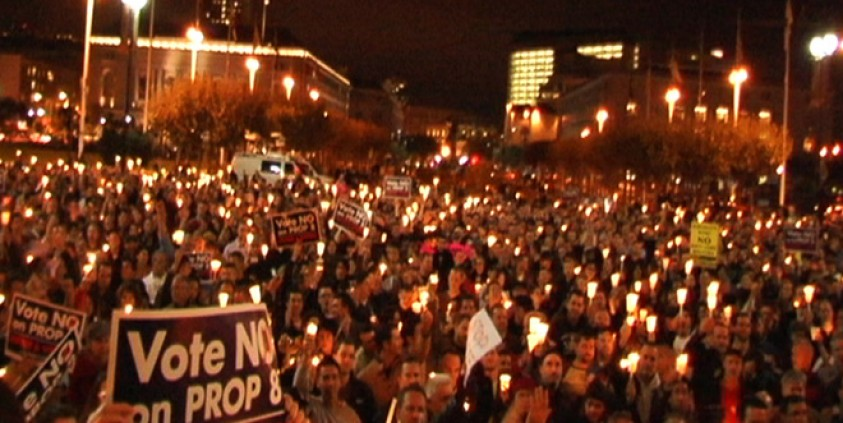 Opponents of Proposition 8 hold a candlelight vigil.