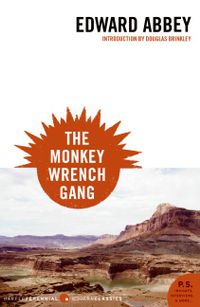 Cover of The Monkey Wrench Gang shows a barren but beautiful Southwestern landscape